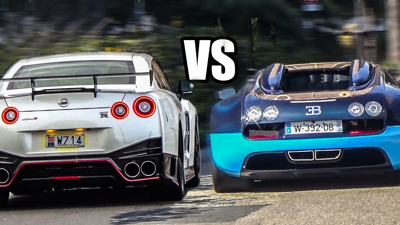 nissan gt-r r35 vs bugatti veyron - sound battle! - youtube