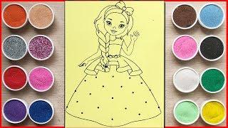Đồ chơi trẻ em TÔ MÀU TRANH CÁT CÔNG CHÚA MẶC ĐẦM DẠ HỘI - Colored sand painting toys (Chim Xinh)
