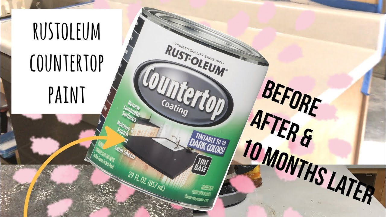 I PAINTED OUR COUNTERTOPS!! BEFORE AFTER AND 10 MONTH REVIEW | RUST-OLEUM COUNTERTOP PAINT LIGHT ASH