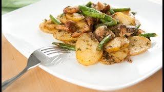 Жареный картофель с грибами и фасолью