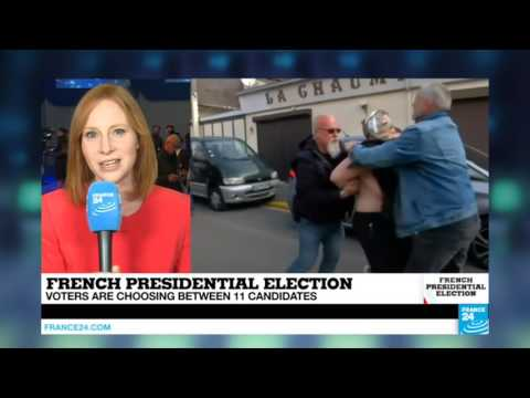 France Presidential Election: Femen protest near Front National headquarters