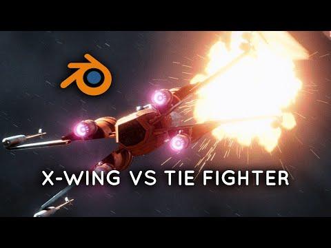 x-wing-vs-tie-fighter- -blender-eevee-breakdown
