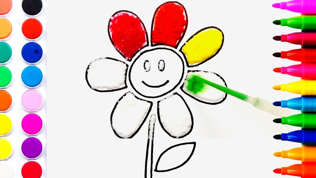 Flower Coloring Pages Salt Painting for Kids | Fun Art ...