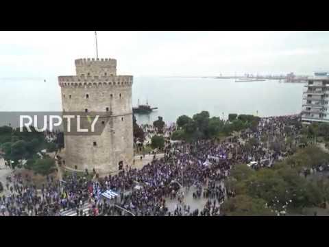 Greece: Greeks flood Thessaloniki port to protest FYROM bid to be called