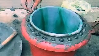 Amazing flower pot making/How to make flower pot at home with cement