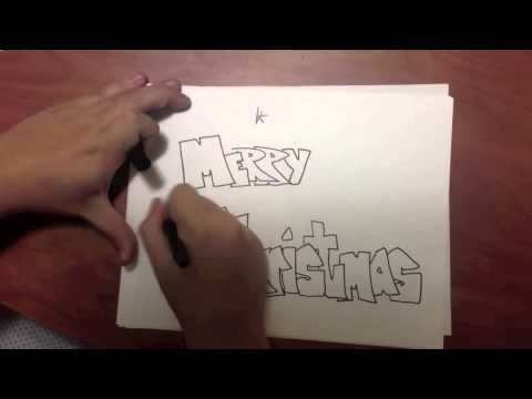 how to draw with bubble letters merry christmas v2