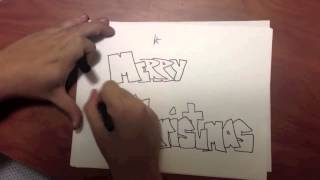 How to Draw with Bubble Letters: Merry Christmas v2