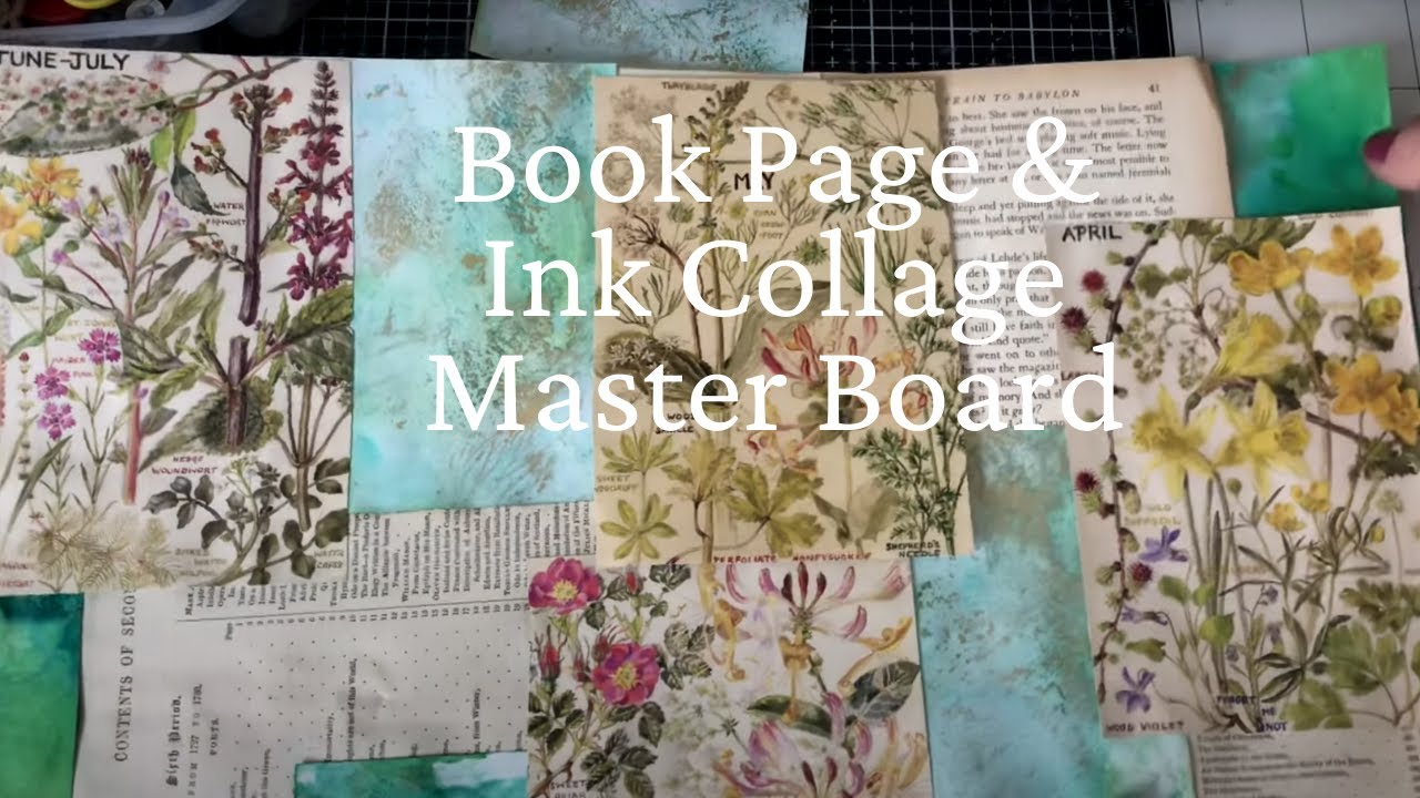 Book Page Collage Master Board With Botanicals & Ink