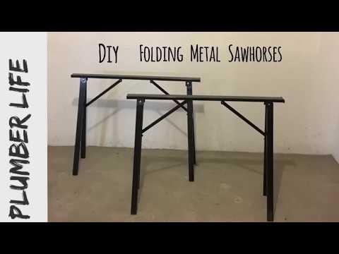 Folding heavy duty steel sawhorses