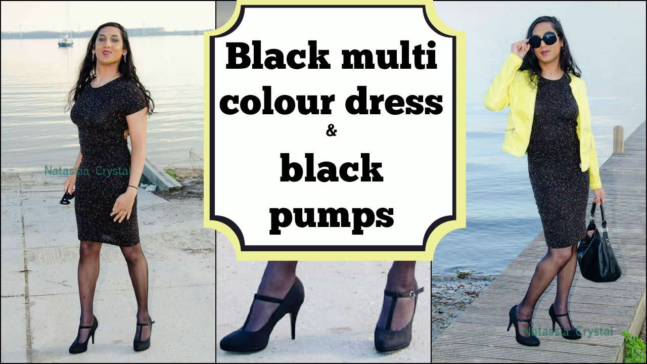 Crossdresser - black multi coloured dress and black high heels pumps |  NatCrys - YouTube