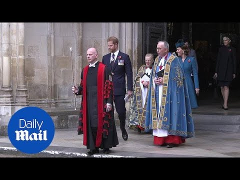 Harry and Kate depart after Anzac Day service at Westminster Abbey