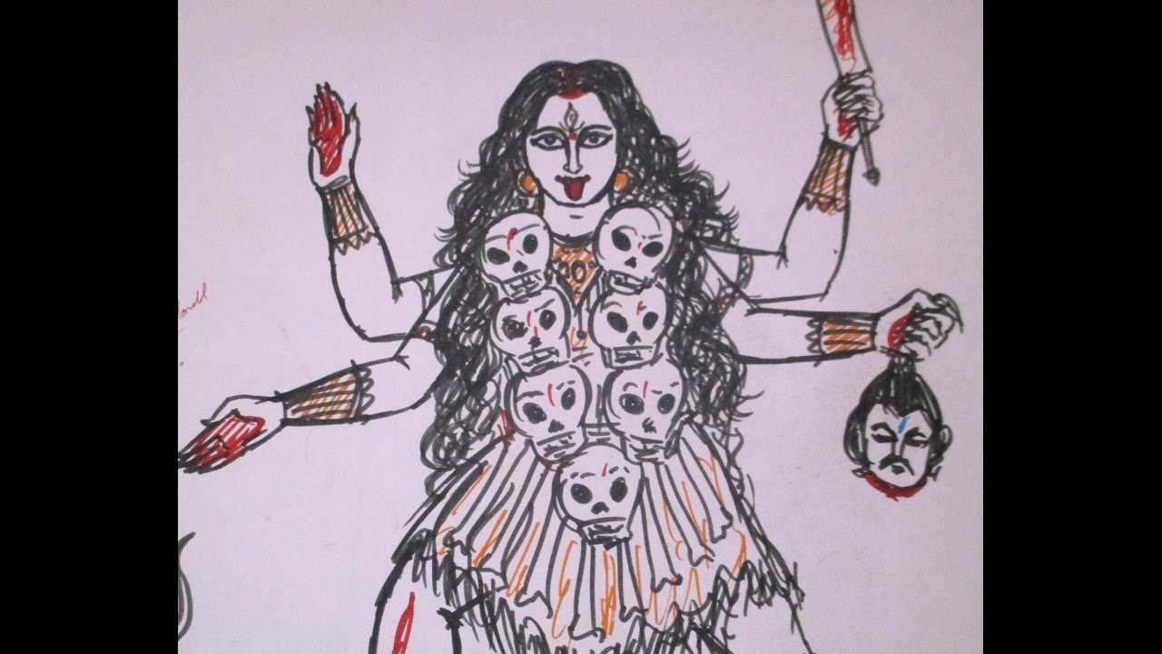 Mahakali goddess kali fastest drawing with sketch pen