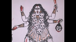 MAHAKALI (GODDESS KALI) FASTEST DRAWING WITH SKETCH PEN