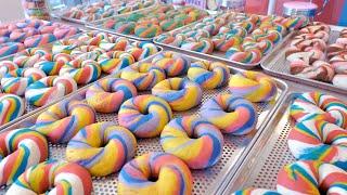 매일 완판되는 화려한 레인보우 베이글, 크림치즈 | Make a colorful rainbow bagel, …