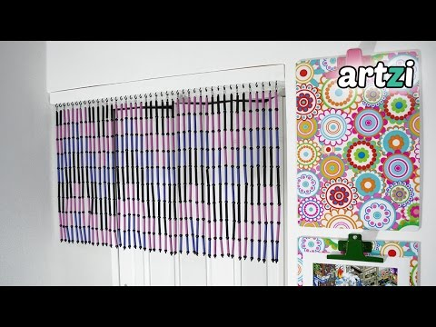 DIY Magazine Rolls and Beads Door Curtain