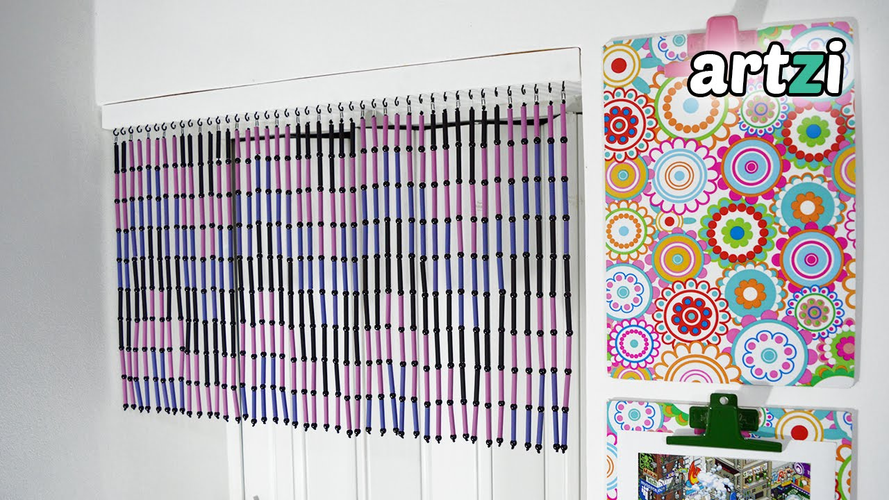 DIY Magazine Rolls And Beads Door Curtain   YouTube