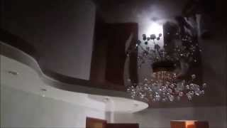 Двухуровневый Волнообразный Черно Белый Глянцевый Натяжной Потолок в Гостиной(, 2016-04-19T22:48:09.000Z)