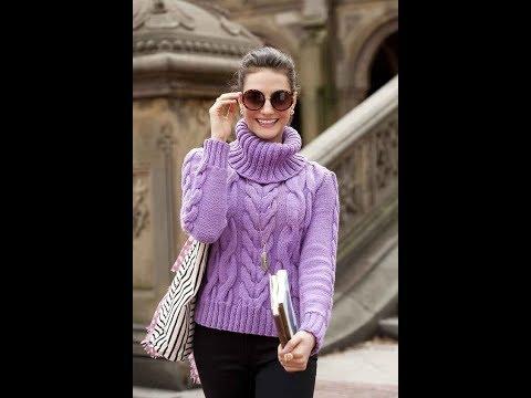 Пуловеры вязаные спицами с косами