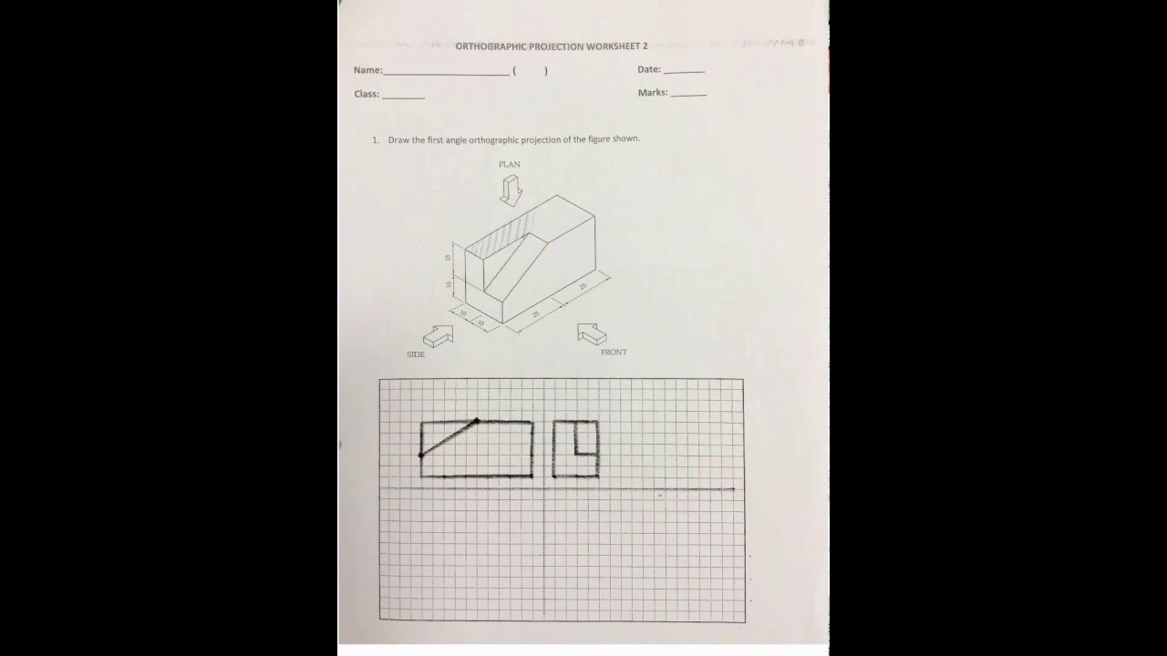 Steps First Angle Orthographic Projection Worksheet 2 Question 1 – Orthographic Projection Worksheet