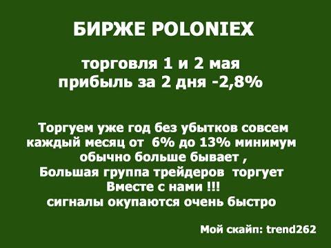 Торговля на бирже Poloniex 1 и 2 мая 2017 год