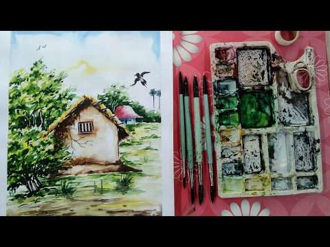 How to paint landscape in watercolor painting for beginners