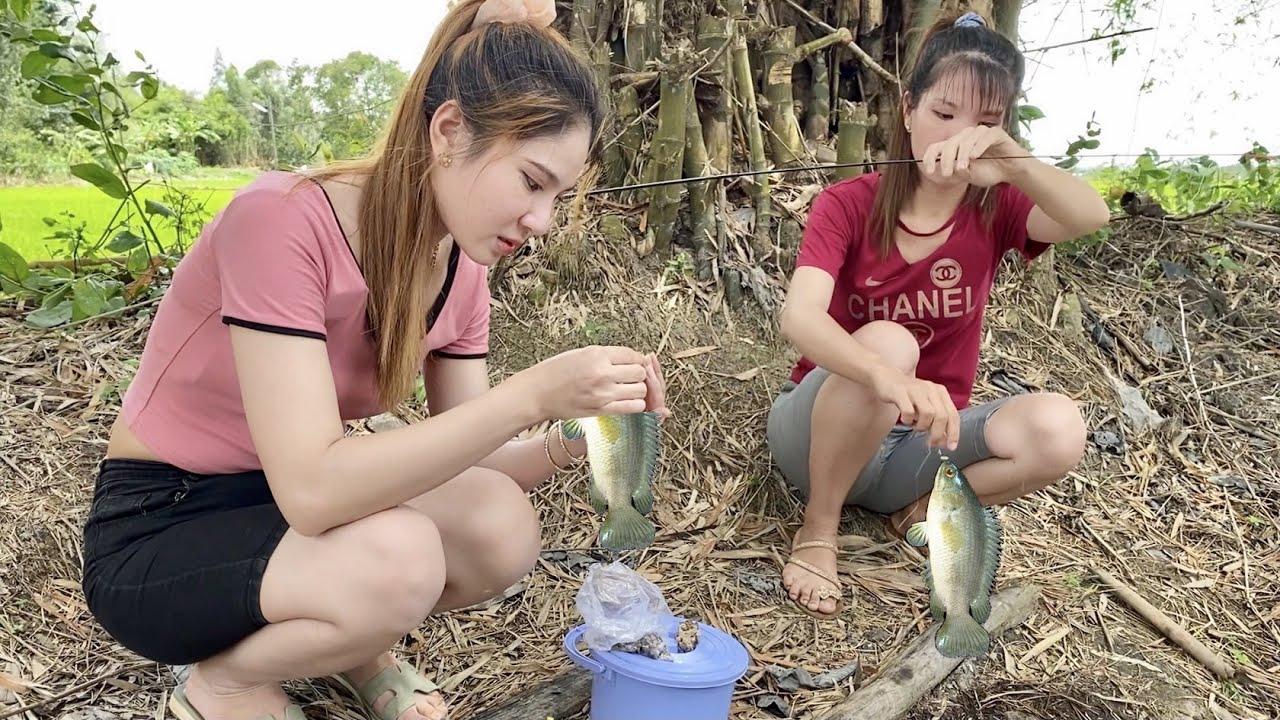 Câu Cá Rô Ngoài Đồng 2 Gái Xinh Trúng Được Ổ Cá Lớn Về Làm Món Dân Dã Triệu Người Phải Mê