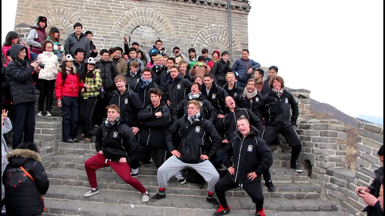 NZ 2013 U18 Hockey Team Haka at the Great Wall of China