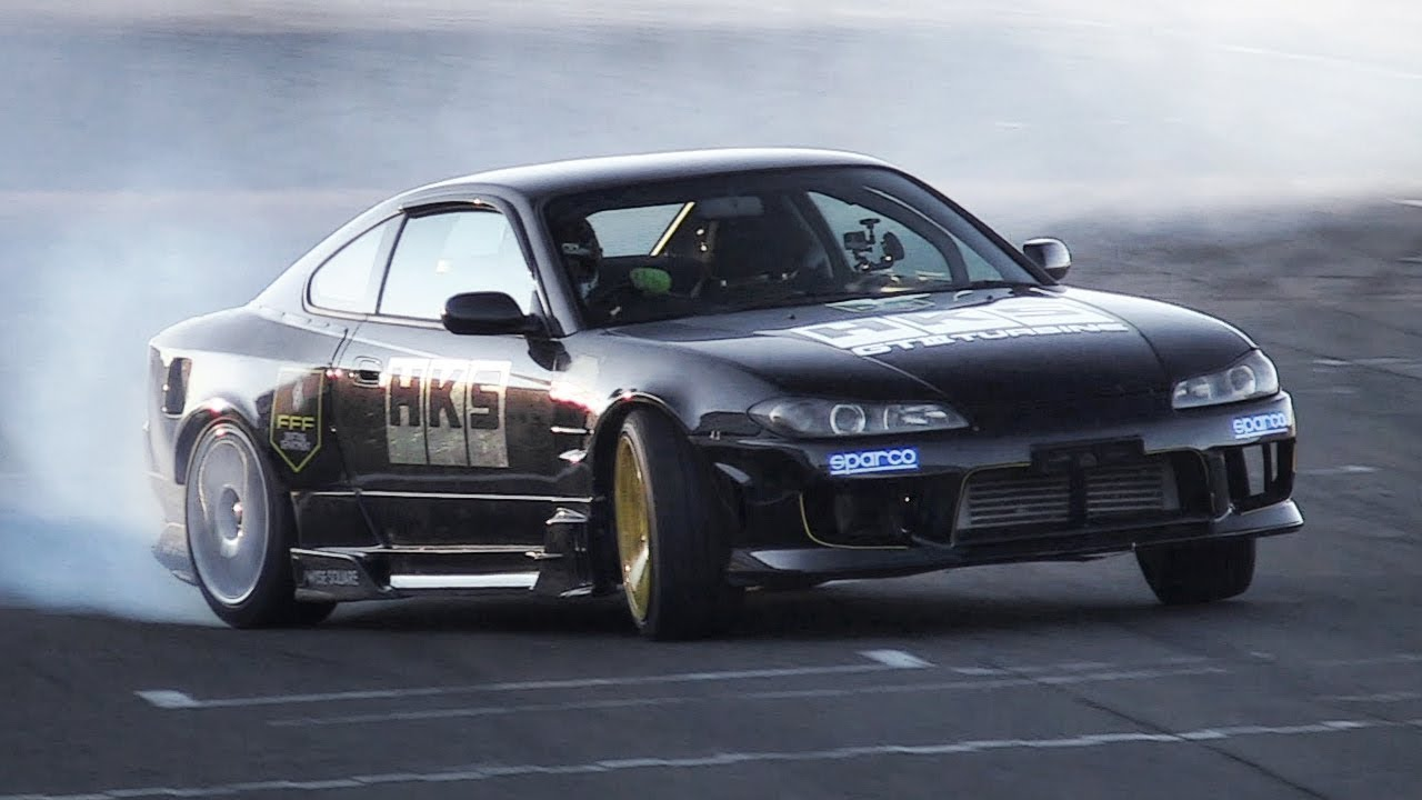 Nissan Silvia S15 Great Drift U0026 Wet Car Park Fun   360hp SR20 Engine Turbo  Sound!