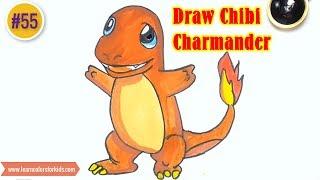 How to Draw Chibi Charmander, Pokemons Characters #55