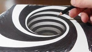 Drawing a Spiral Hole - Anamorphic Trick Art Illusion