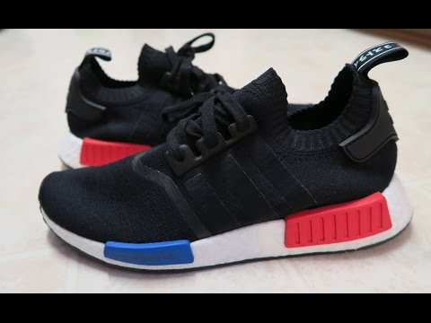 4ad0467638c7 adidas Originals NMD Boost Black Blue Red OG Runner Sneaker Real ...