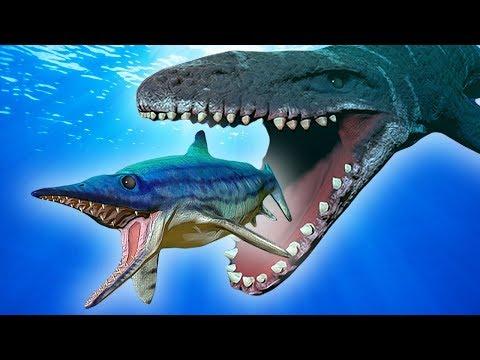 BATALHA ÉPICA DO ICHTHYOSAURUS vs MOSASAURUS | Feed and Grow: Fish