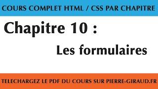 Cours Complet HTML CSS - Chapitre 10/10 : Les formulaires en HTML