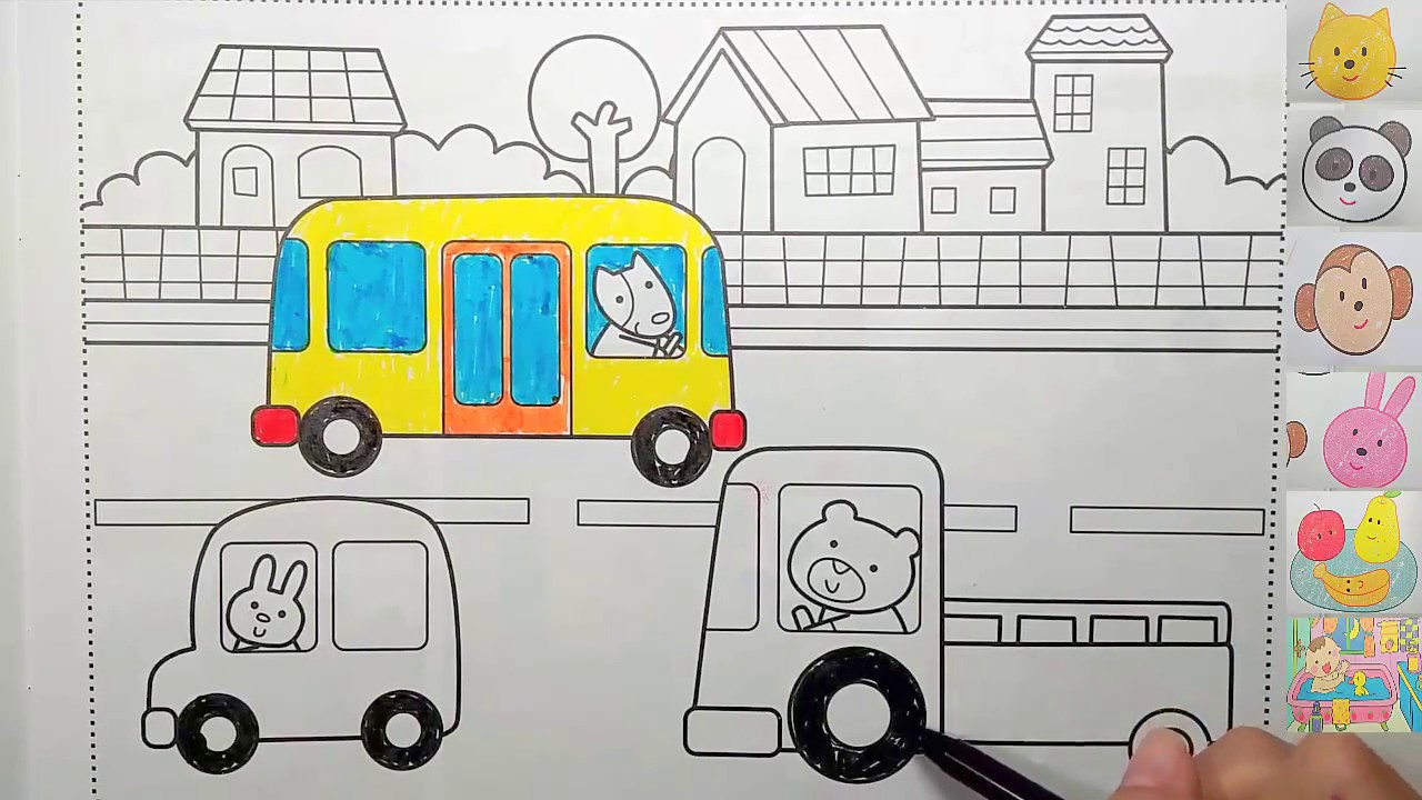 Kids Drawing | Learning Colors By Coloring Page Houses, Cars, Trees ...
