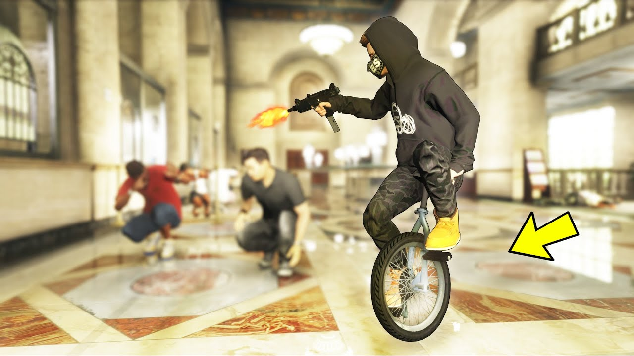 Can we rob a bank on a UNICYCLE?! (GTA 5 Mods)