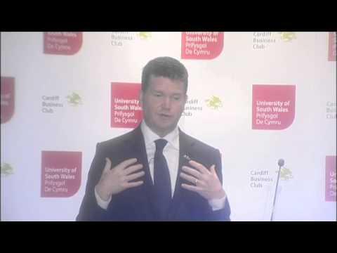 Matthew W. Barzun, Ambassador of the United States of America presenting to Cardiff Business Club
