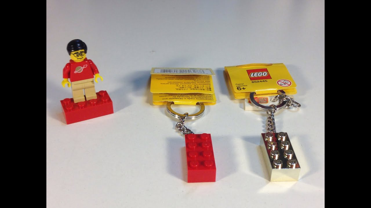 lego element daily - 2x4 brick key chain red and gold