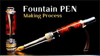[ Pen turning ] Making Fountainpen / Silver,Gold,Wood