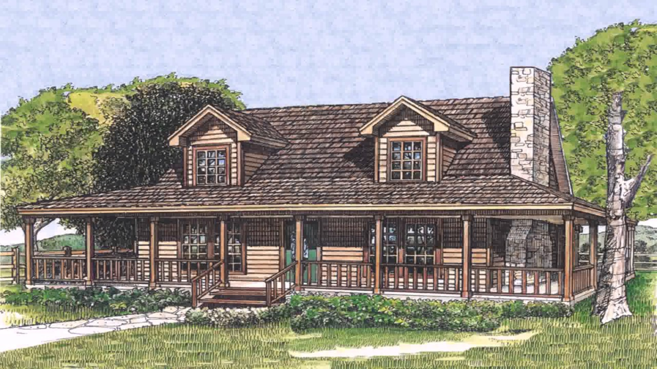 Farm style house plans with wrap around porch youtube for House plans with porches all the way around