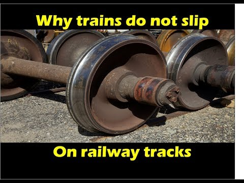Why do trains do not slip off from the tracks?