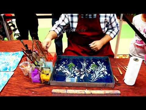 How to paint on Water for Paper Marbling and Ebru Artكيفية الرسم على الماء لالرخامي ورقة والفن إبرو