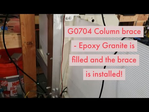 G0704 cnc mill - column brace part 2 of 3 - Epoxy granite filled and bolted up!