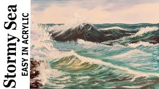 Acrylic Seascape Painting  Windy Crashing Wave with clive5art thumbnail