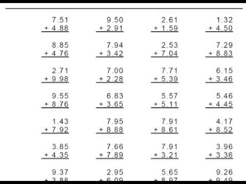 math worksheet : grade 4 decimal addition 1 or 2 digit numbers worksheets  youtube : Worksheets On Decimals For Grade 4