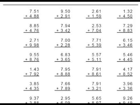 Grade 4 Decimal Addition 1 Or 2 Digit Numbers Worksheets