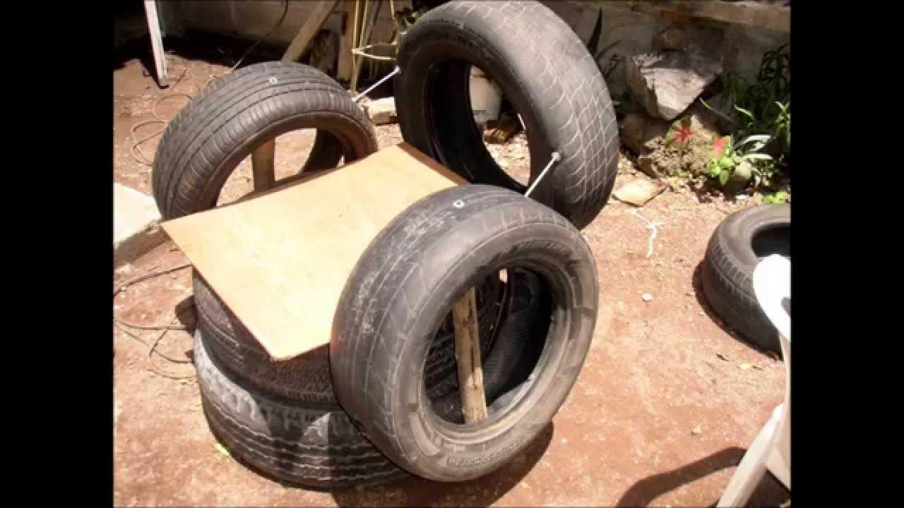 Como hacer un sill n con llantas usadas de auto youtube - Hacer un jardin ...