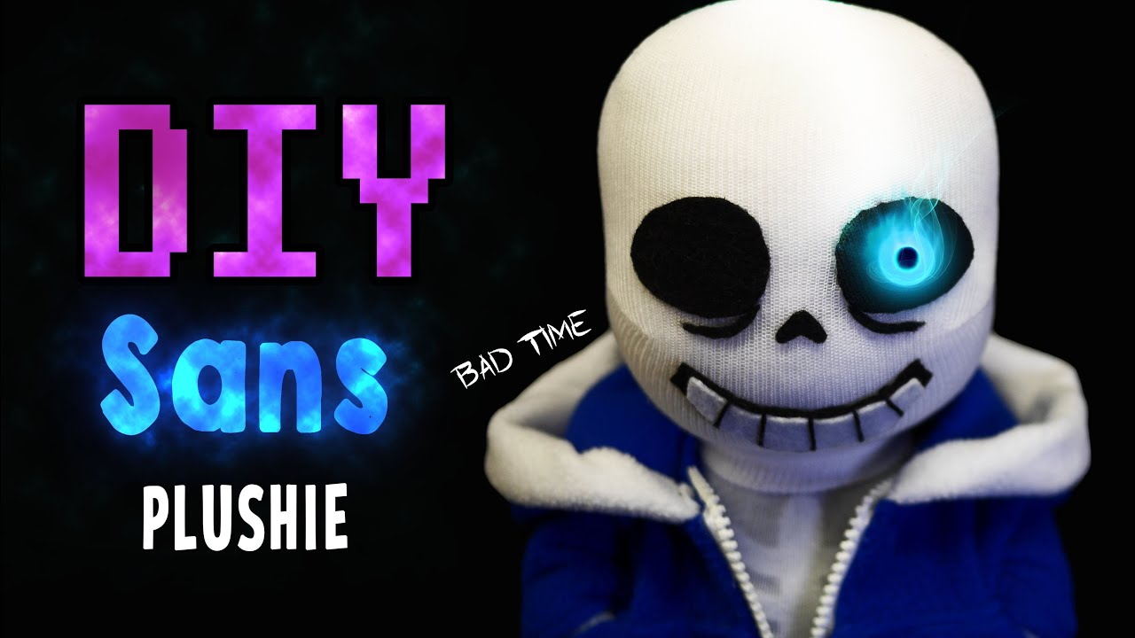 Diy Bad Time Sans With Glowing Eye And Movable Arms! Undertale Sock Plushie  (free Pattern) Tutorial  Youtube