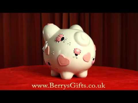 Extra large embossed ceramic piggy bank pink ladybirds youtube - Extra large ceramic piggy bank ...