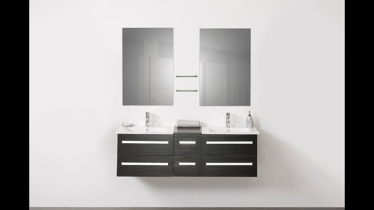 Beliani modern malaga bathroom vanity with sink cabinets and mirrors - Beliani Modern Bathroom Furniture Black Madrid Eng