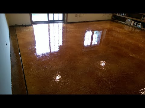 Decorative Concrete Acid Stain Epoxy Basement Floor Camdenton, MO